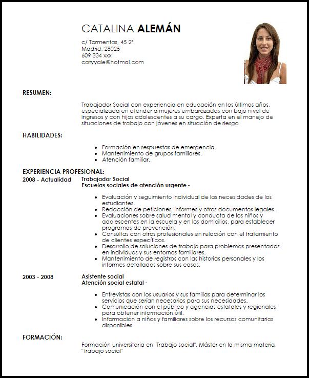 Ejemplo Curriculum Vitae Trabajador Social