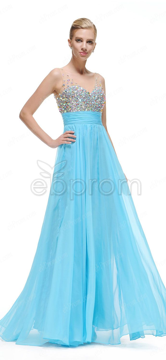 Sky blue crystal sparkly prom dresses Pageant dresses | Prom ...
