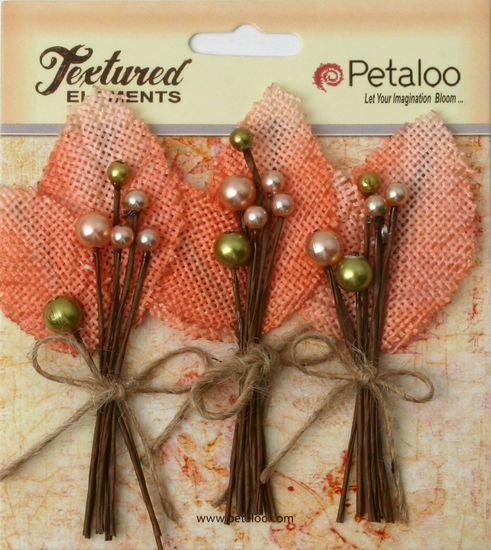 Petaloo Textured Elements Burlap And Canvas Collection  Berry Picks In Apricot, Set Of 3,  Peach, Flower,  Scrapbook Embellishments