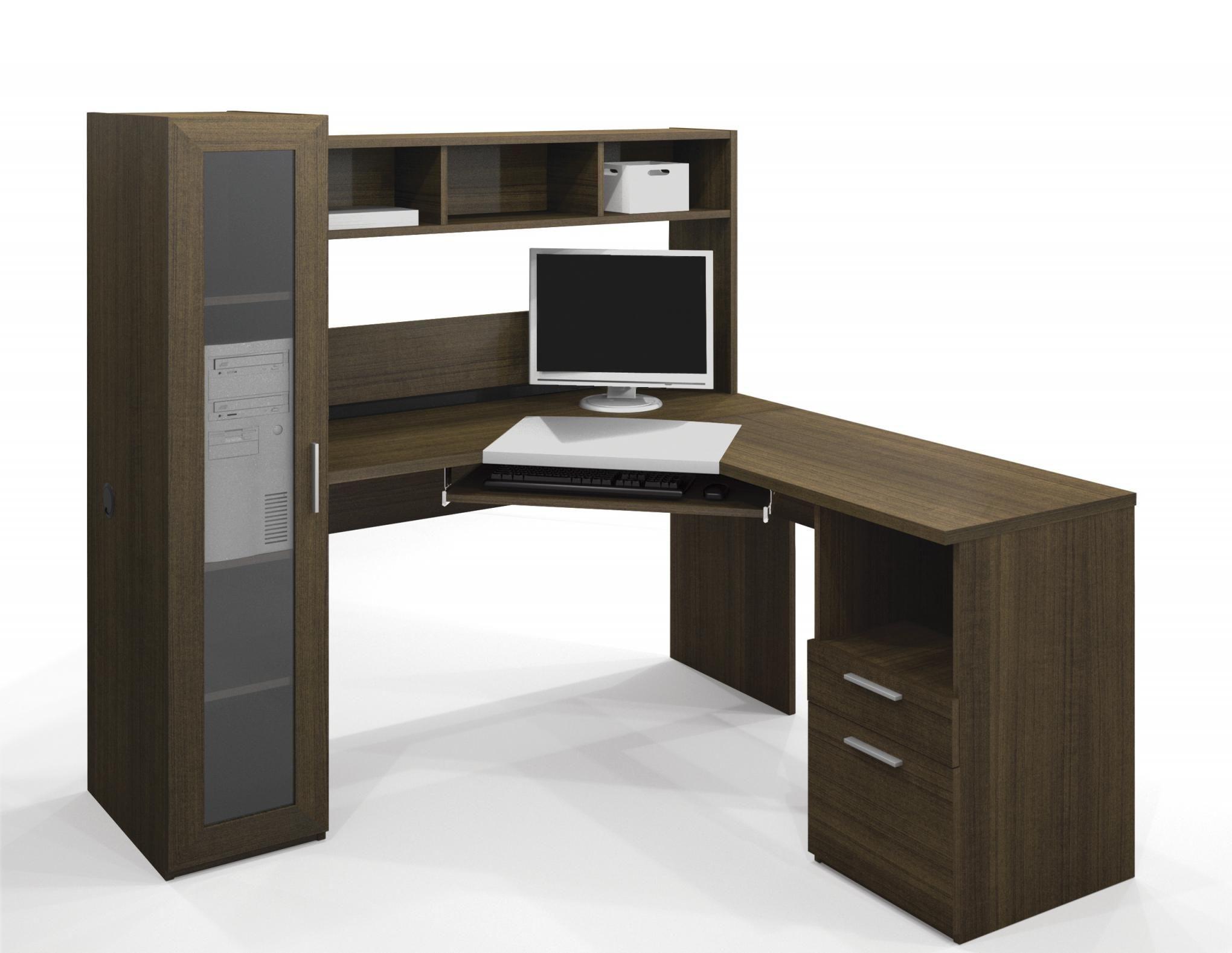 Interesting Stylish Corner Desk Modern Laminate Wood Construction Walnut And For Your Corner Workstation Office Desk For Sale Corner Workstation Desk