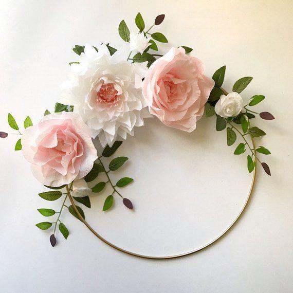 Photo of Paper fleur couronne or cerceau Couronne paper crépon   Etsy