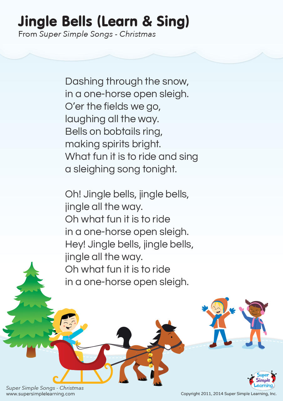 Jingle Bells Learn Sing Lyrics Poster Super Simple Christmas Songs For Kids Christmas Carols Lyrics Preschool Christmas Songs