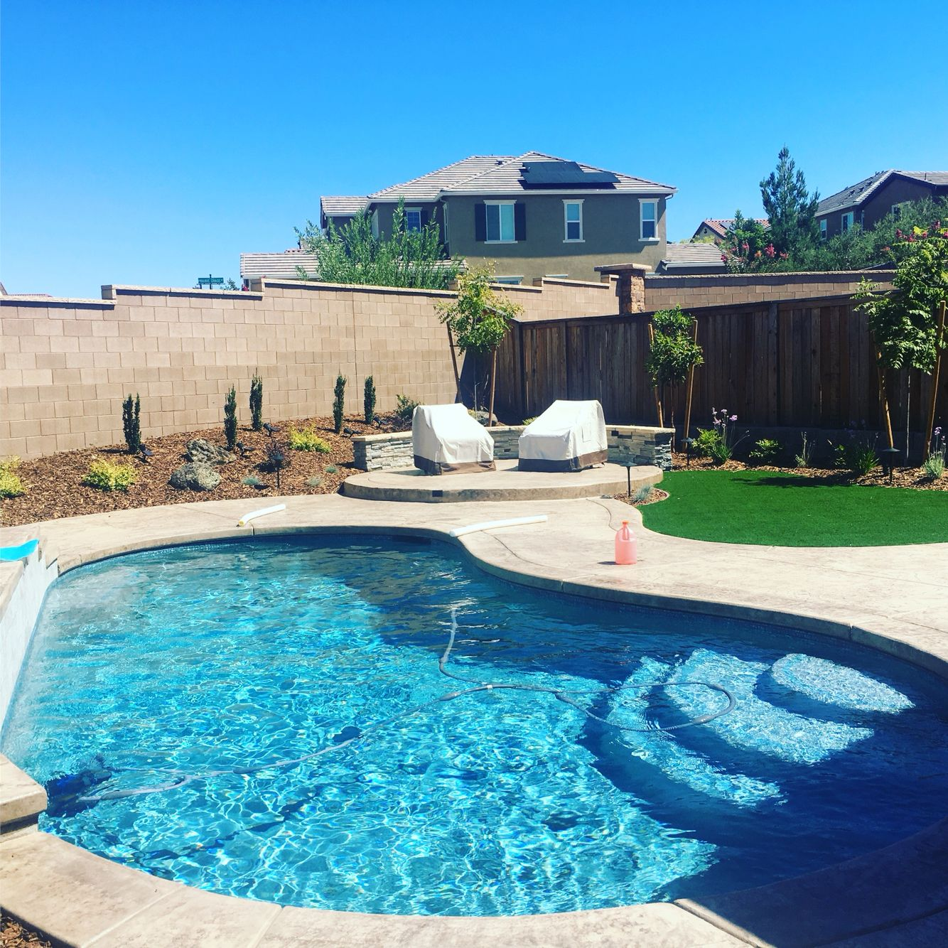 Pool only with pebble interior and water feature basic ...