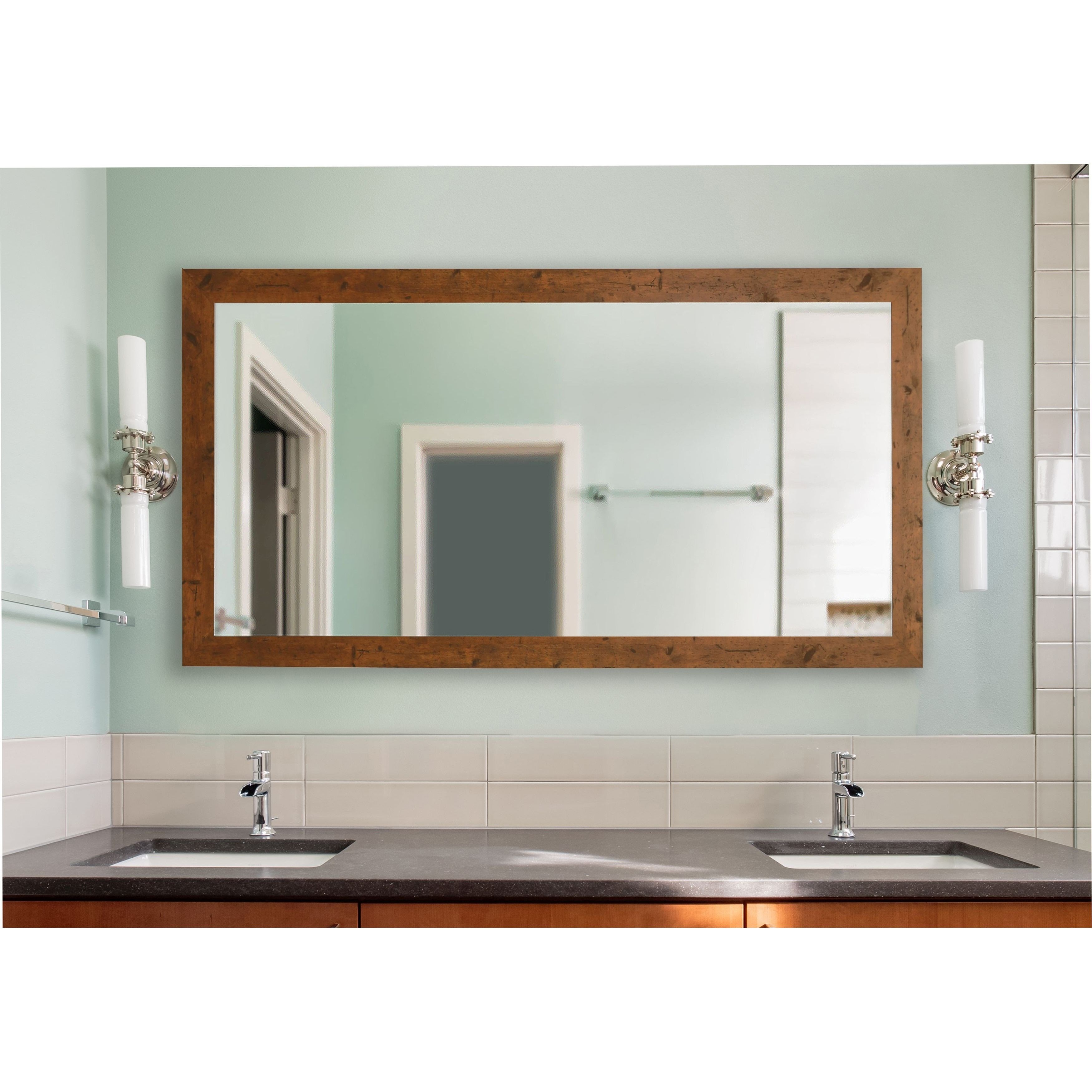 American Made Rayne Rustic Light Walnut (Brown) Extra Large Mirror ...