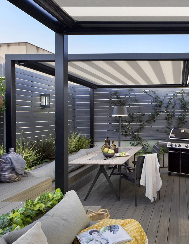 Cover Outdoor Spaces With Shade To Protect The From Sun And Rain Modern Outdoor Spaces Modern Outdoor Patio Rooftop Terrace Design