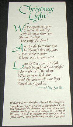 I knew love's presence near. Christmas Light, poem by May Sarton ...