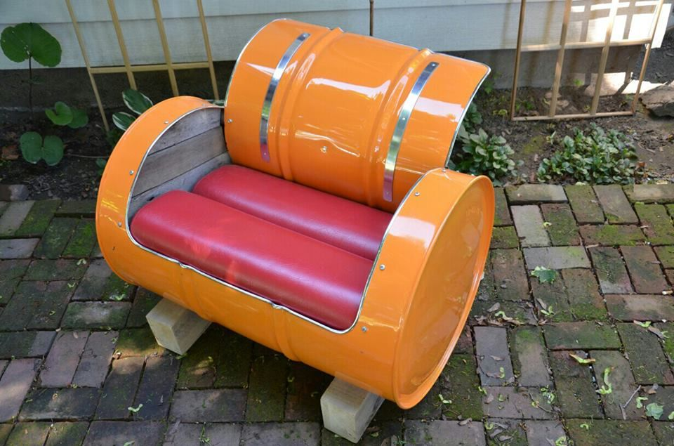 55 Gallon Drum, Turned Occasional Chair.