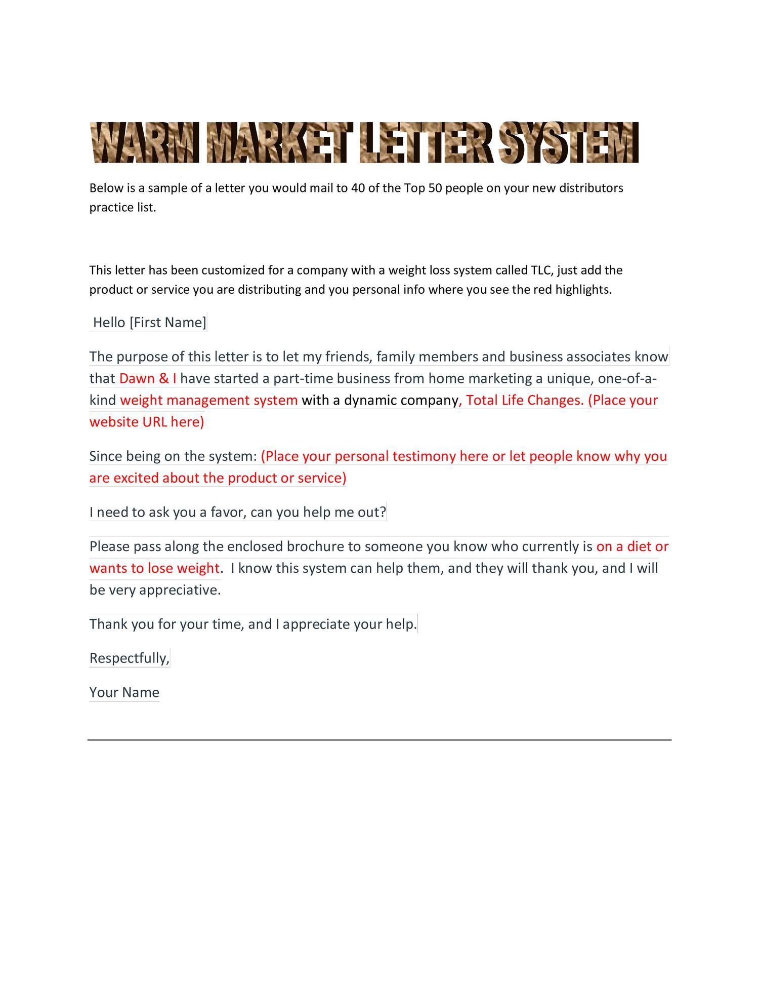 View And Download Warm Market Letter SystemPdf On Docdroid