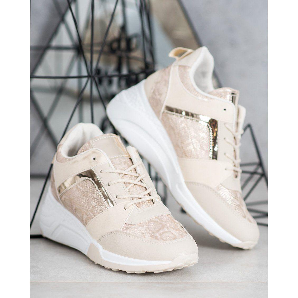 Shelovet Sneakersy Na Koturnie Brazowe Adidas Sneakers Adidas Tubular Sneakers