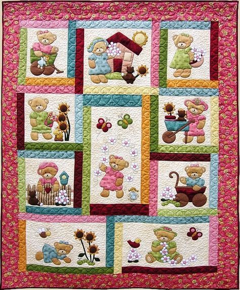 daisy bear quilt pattern adorable appliqu pieced quilt sewing pattern single twin bed. Black Bedroom Furniture Sets. Home Design Ideas