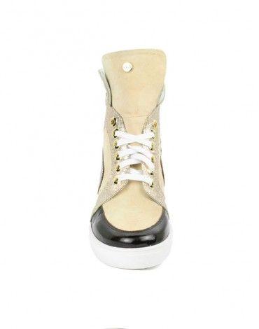 2.5#, Scarpe Donna, Sneakers Zeppa Interna , di Camoscio, color Rosa, Inserti in Vernice Bordeaux e Tacco 70  store.glamourshoesaccessori.it