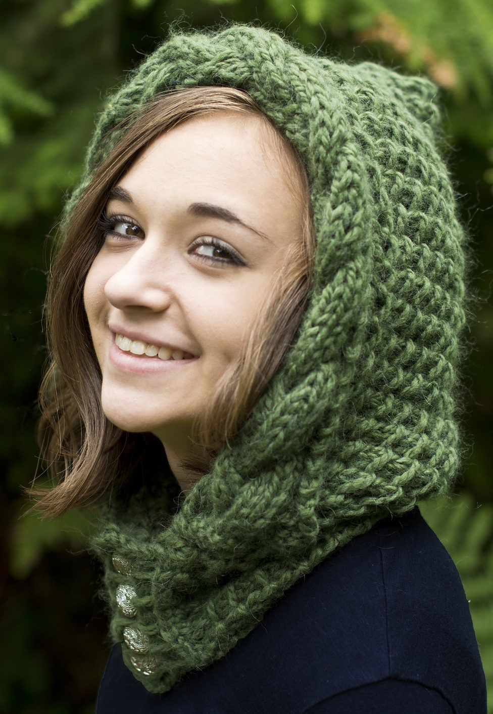 Free Knitting Pattern for Knockma Hood  Textured hood with cable