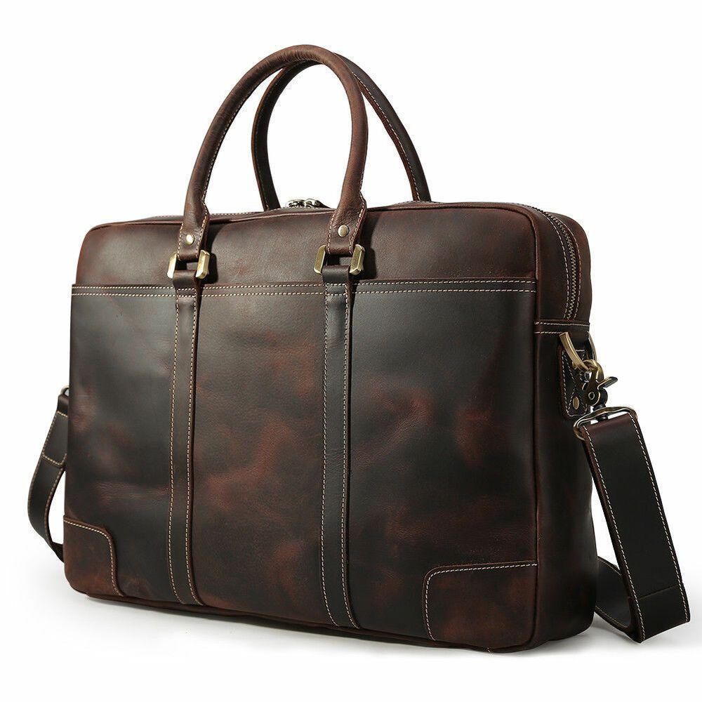 """17/"""" Men Briefcase Satchel Leather Laptop Business Shoulder Bag Messenger Handbag"""