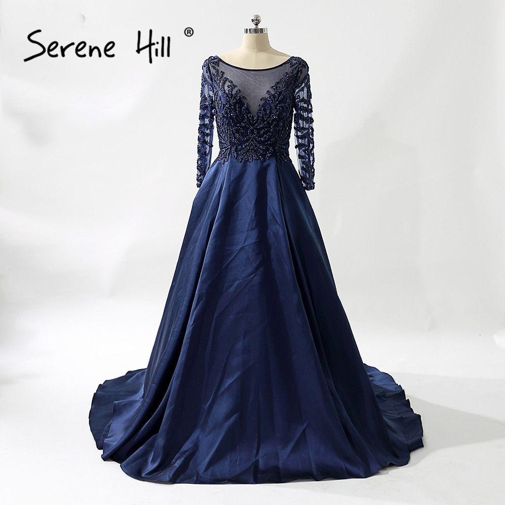 Sexy long sleeve sheer navy blue evening dresses crystal beaded