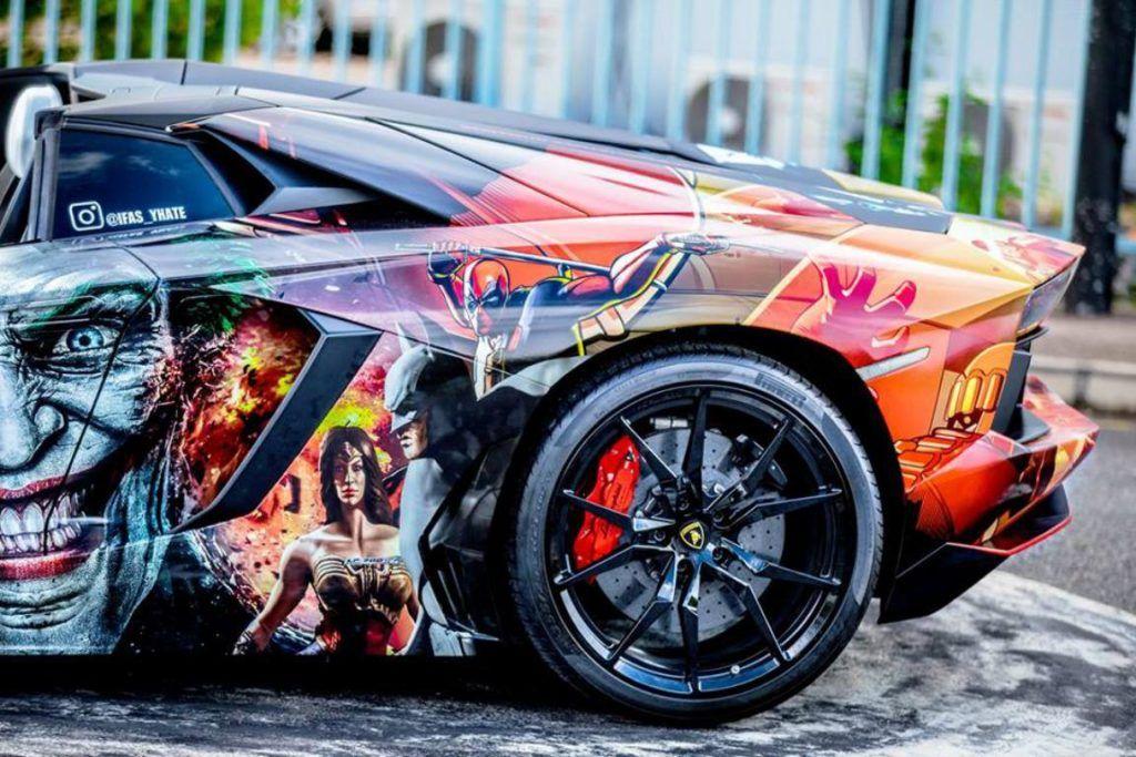 Aventador Roadster with Superhero Wrap