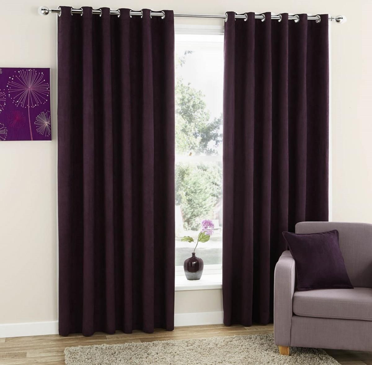 Faux Suede Ready Made Eyelet Curtains