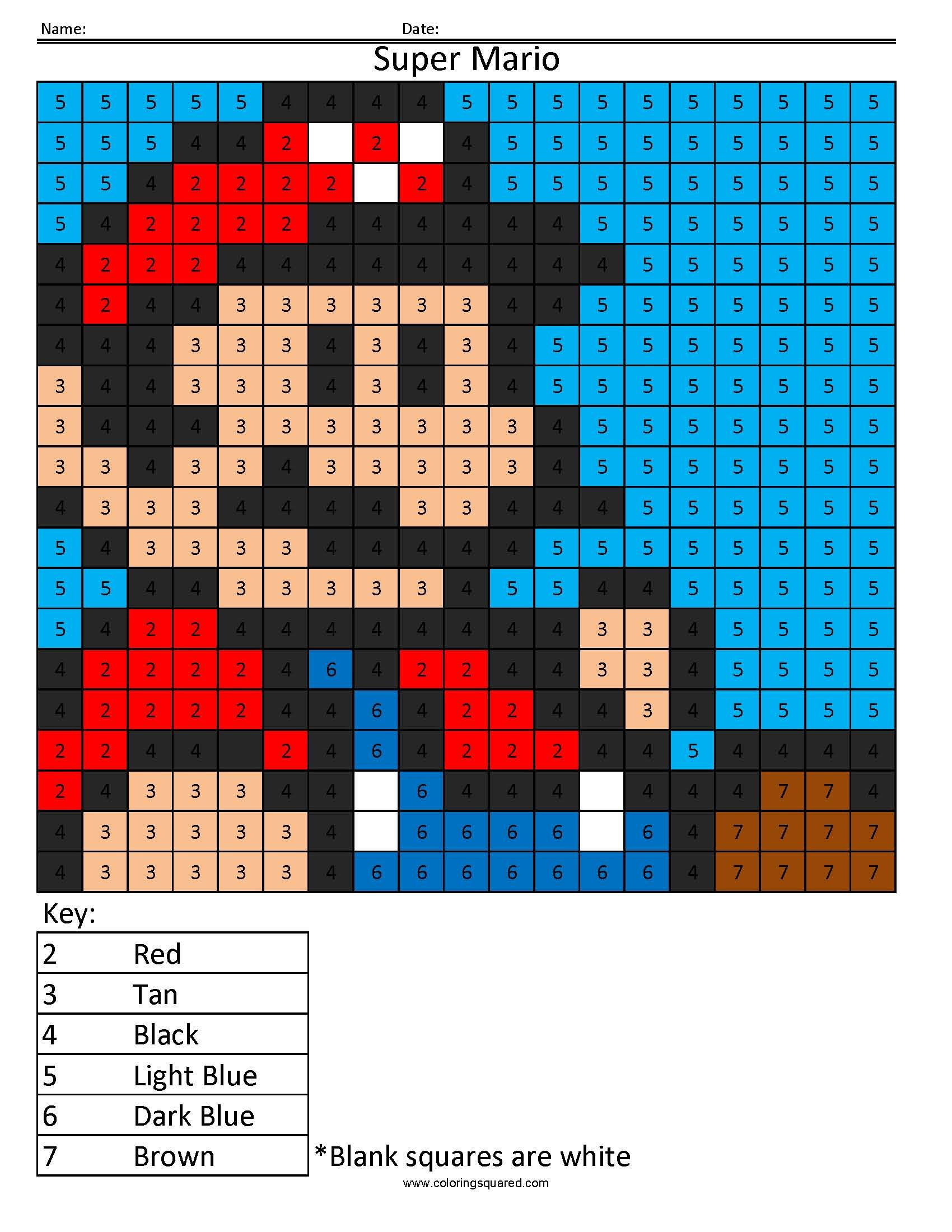 Super Mario Color By Number Math Nintendo Coloring