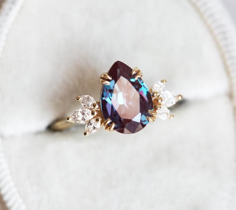 Alexandrite engagement ring pear alexandrite ring cluster