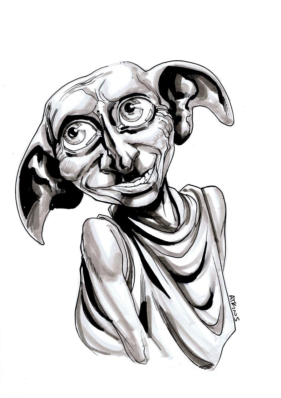 Ds 007 Dobby Jpg 900 1273 Harry Potter Sign Character Sketch Coloring Pages