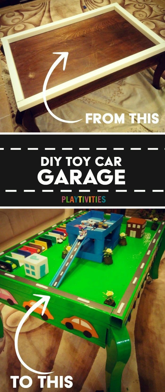 DIY TOY CAR GARAGE TABLE THAT COST ALMOST NOTHING TO MAKE My son is only interested in cars and only cars. So I racked my brain and came up with something I knew for sure he would be interested in.DIY Toy Car Garage was my next project. #DIYToys #IdeasForKids #DIYToyProject #CoolIdeasForKids #CraftActivities #FunFroKids #Parenting #DIYToyIdeas