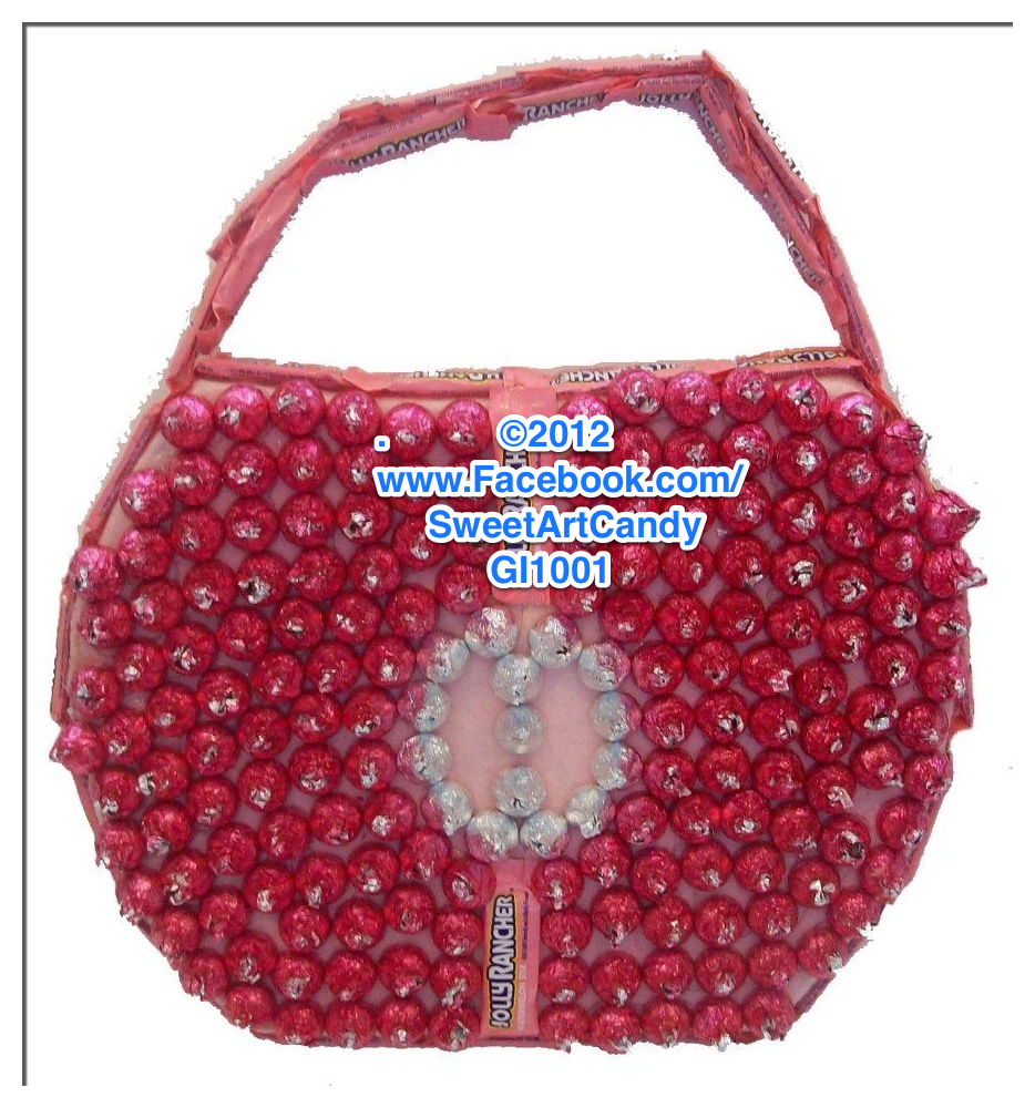 A Candy Purse made from Silver & Pink Hershey's Kisses and