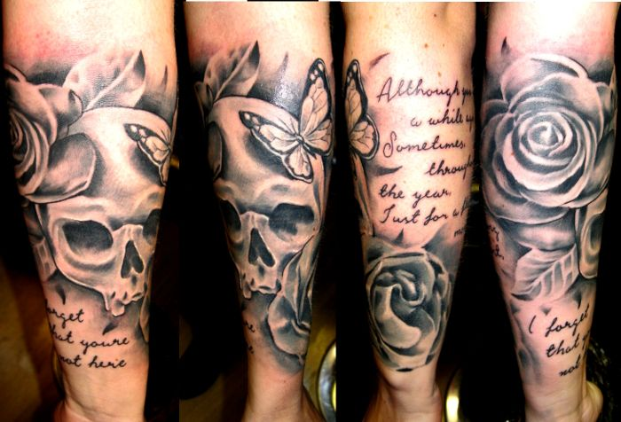 Butterfly Skull And Roses Half Sleeve Tattoos Real Photo Pictures