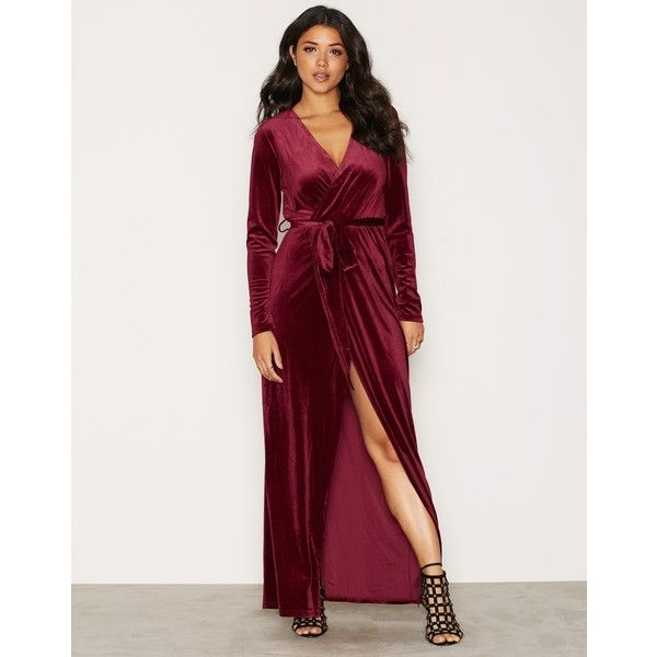 Glamorous V-Front Velvet Dress (£40) ❤ liked on Polyvore featuring dresses, party dresses, wine, womens-fashion, maxi dresses, long sleeve dress, velvet dress, velvet maxi dresses and wine maxi dress
