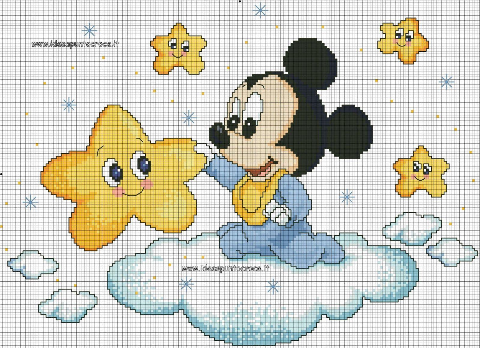 Schemi Disney A Punto Croce Schemi Baby Minnie E Topolino Mickey