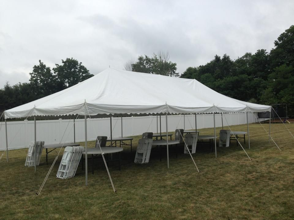 20x40 white pole tent with tables chairs for 80 ppl