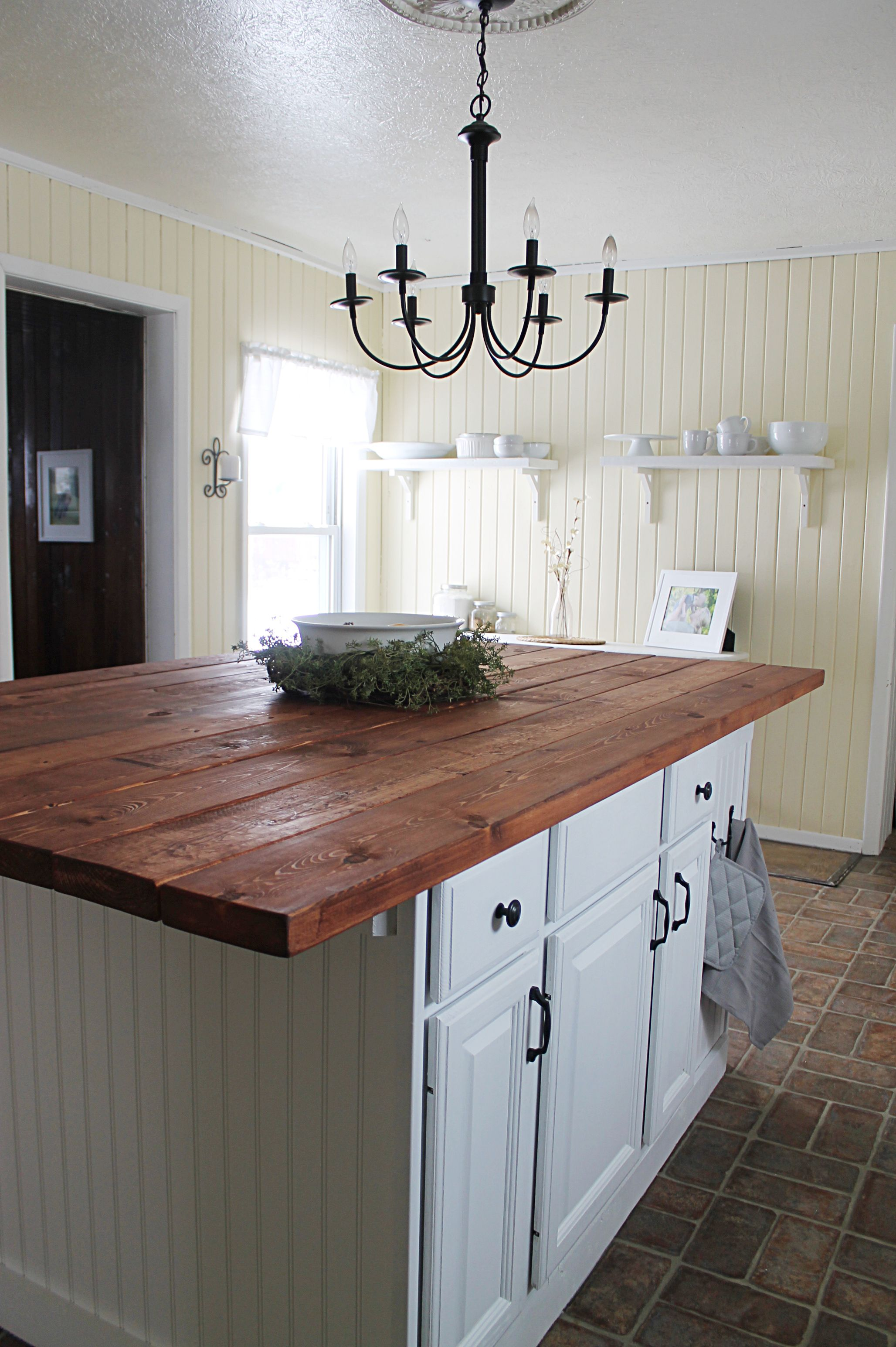 Farmhouse Kitchen Island made from salvaged