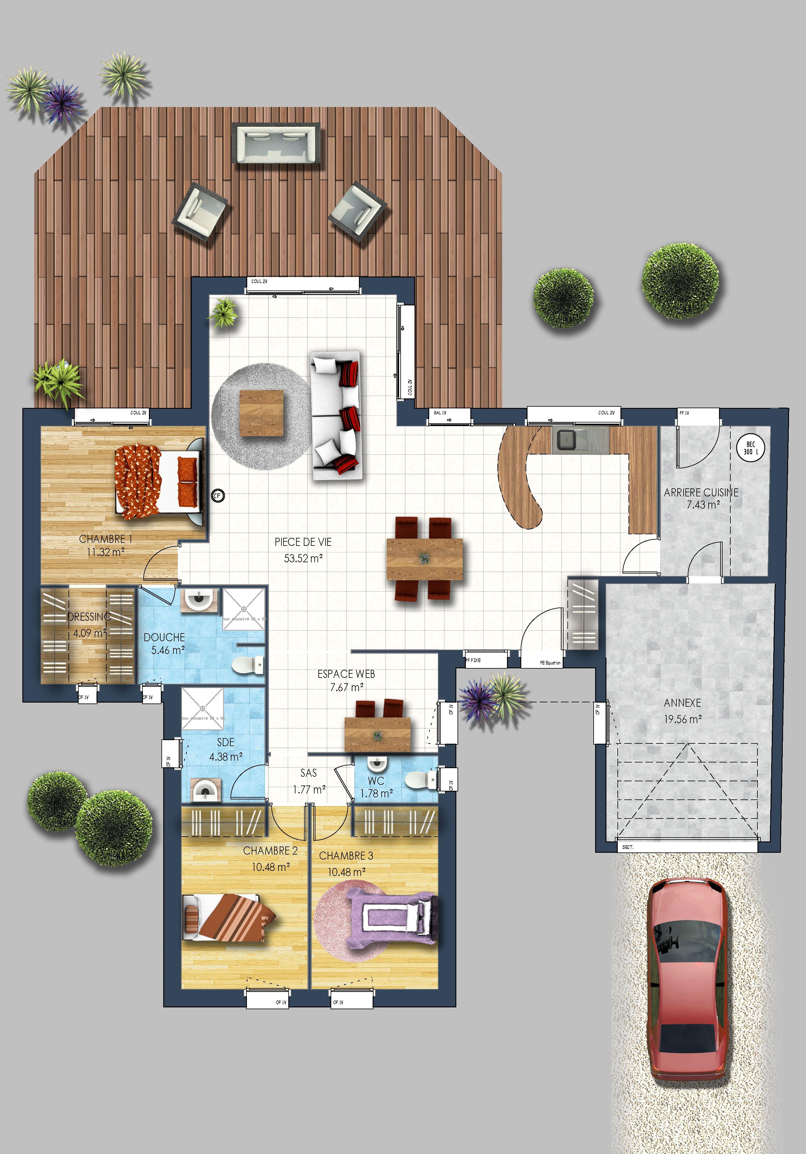 Maison plain pied bicolore Bouguenais   Depreux Construction ...