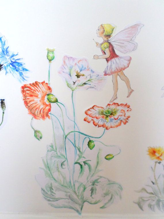 Fairy Wall Art fairy wall decal - flower wall sticker - girls bedroom decor