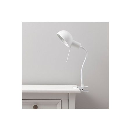 Tutti goose neck white clip on desk lamp