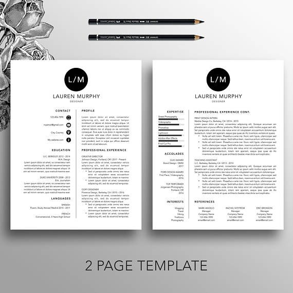 Creative Resume Template + CV Template, Cover Letter, References