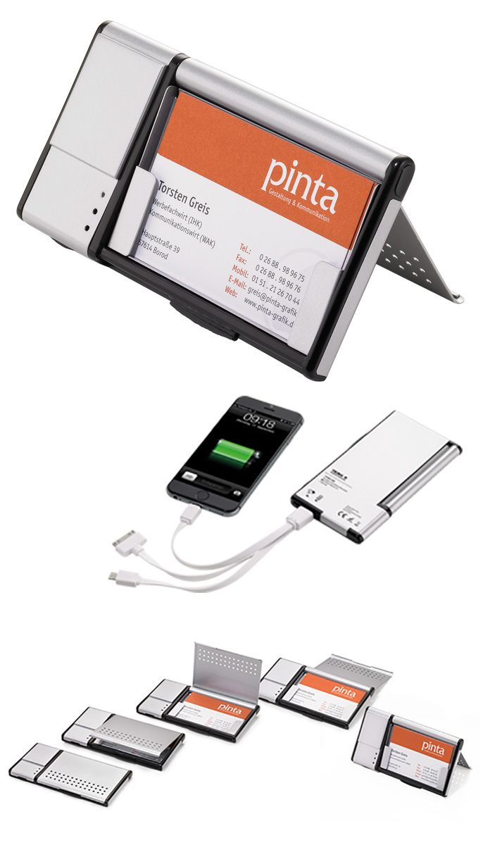 TROIKA CHARGE CARD. Business card case with external battery ...