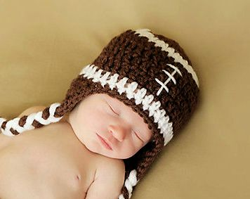 Crochet Infant Football Beanie Hat - NB to 3 Months