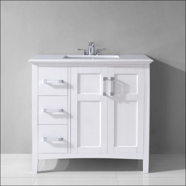 Photo Gallery On Website Modern And Simple Inch White Bathroom Vanity With Drawers u Qualified And Strong Stainless Steel Faucet u Square Shallow White Sink
