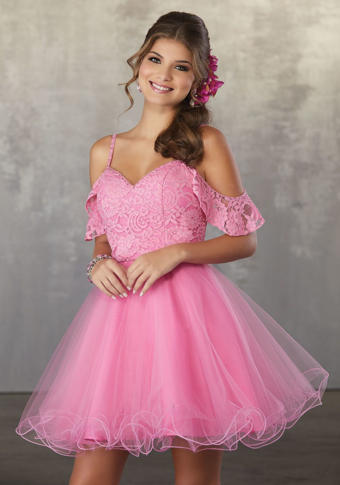 Lace and Tulle Party Dress with Beaded Trim and Cold Shoulder ...