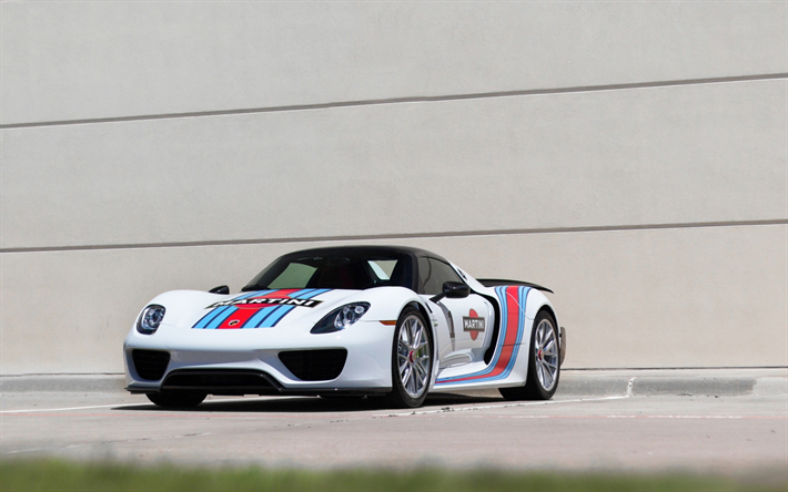 Download Wallpapers Porsche 918 Spyder 2017 Martini Sports Coupe Racing Car