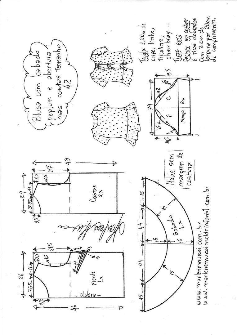 Patrón de blusas con corbatas en la parte posterior (Costura y corte ...