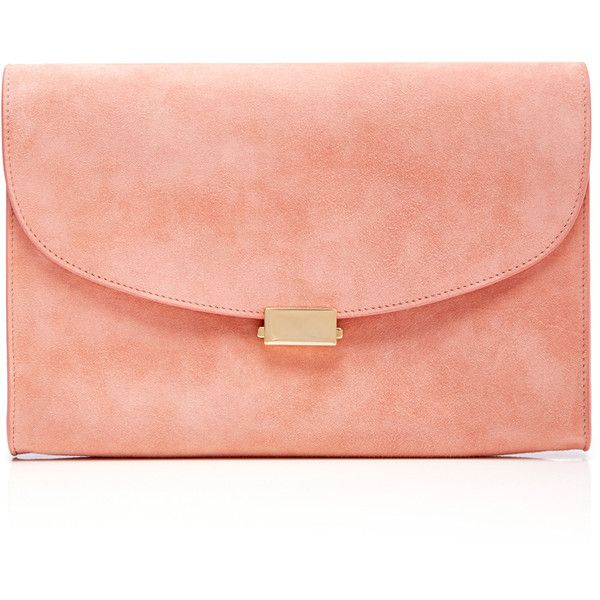 a702d43cb2 Mansur Gavriel Coral Suede Envelope Flat Clutch ( 695) ❤ liked on Polyvore  featuring bags
