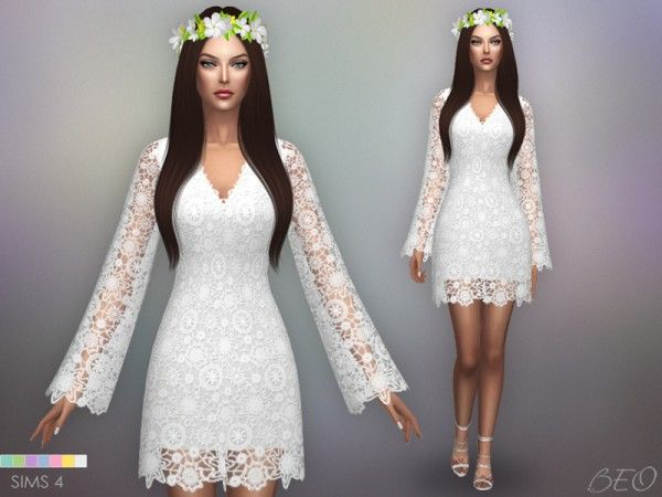 3be1094eaec BEO Creations  Bohemian wedding dress • Sims 4 Downloads