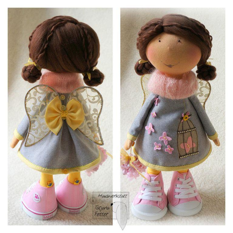 Купить Текстильная кукла Инна - розовый, серый, кукла, текстильная кукла, валентинка, подарок девушке