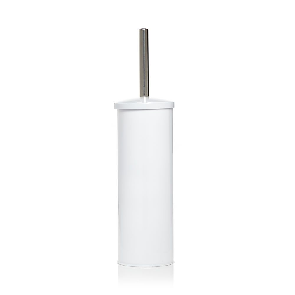 Domed white toilet brush and holder with images toilet
