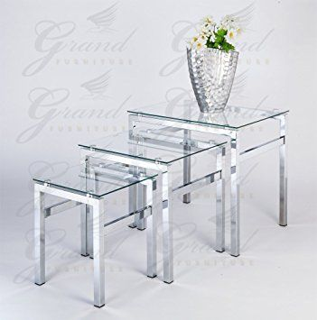 Glass Nest of Tables 3 Coffee Side Coffee Lamp Table Set Living ...