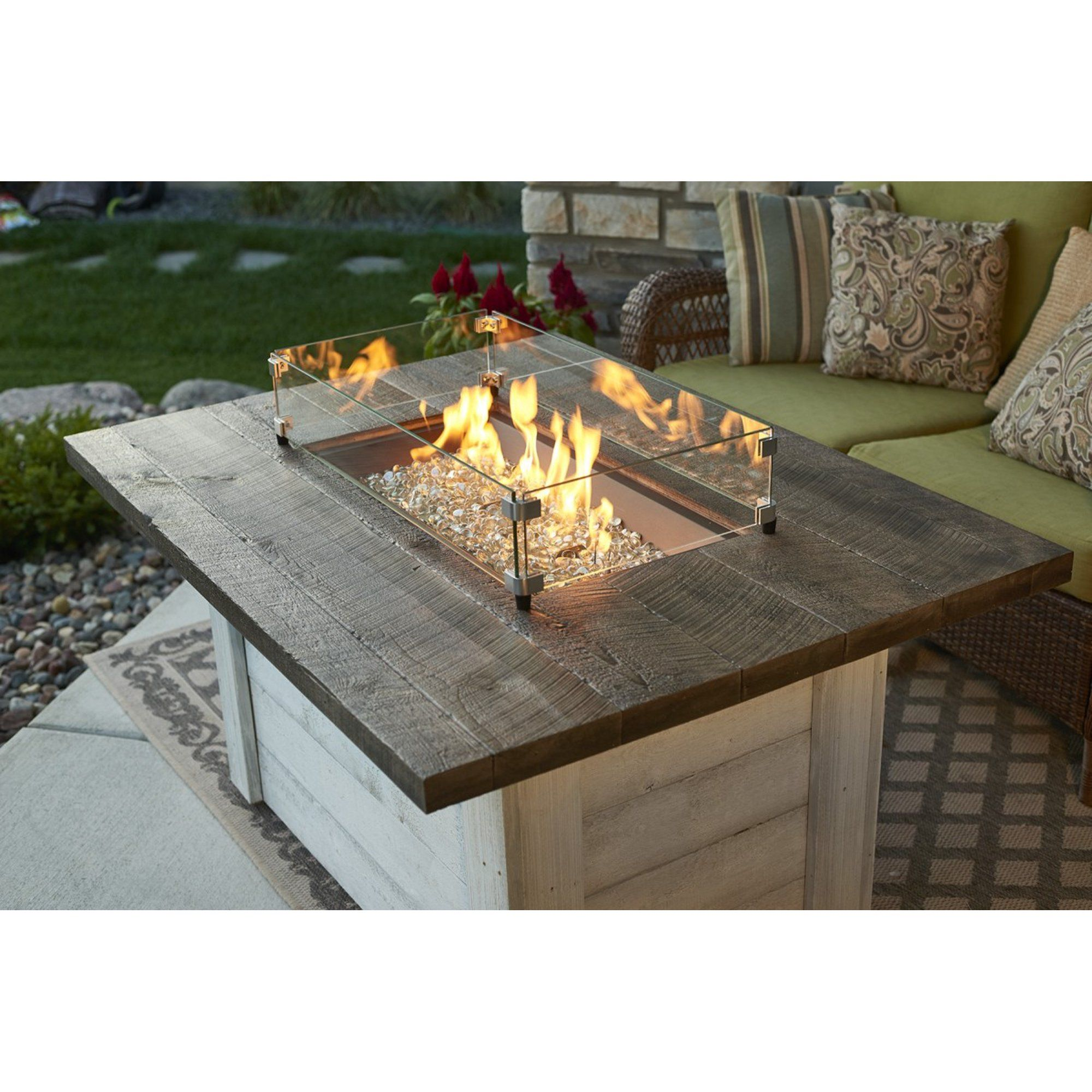 Alcott rectangular gas fire pit table in