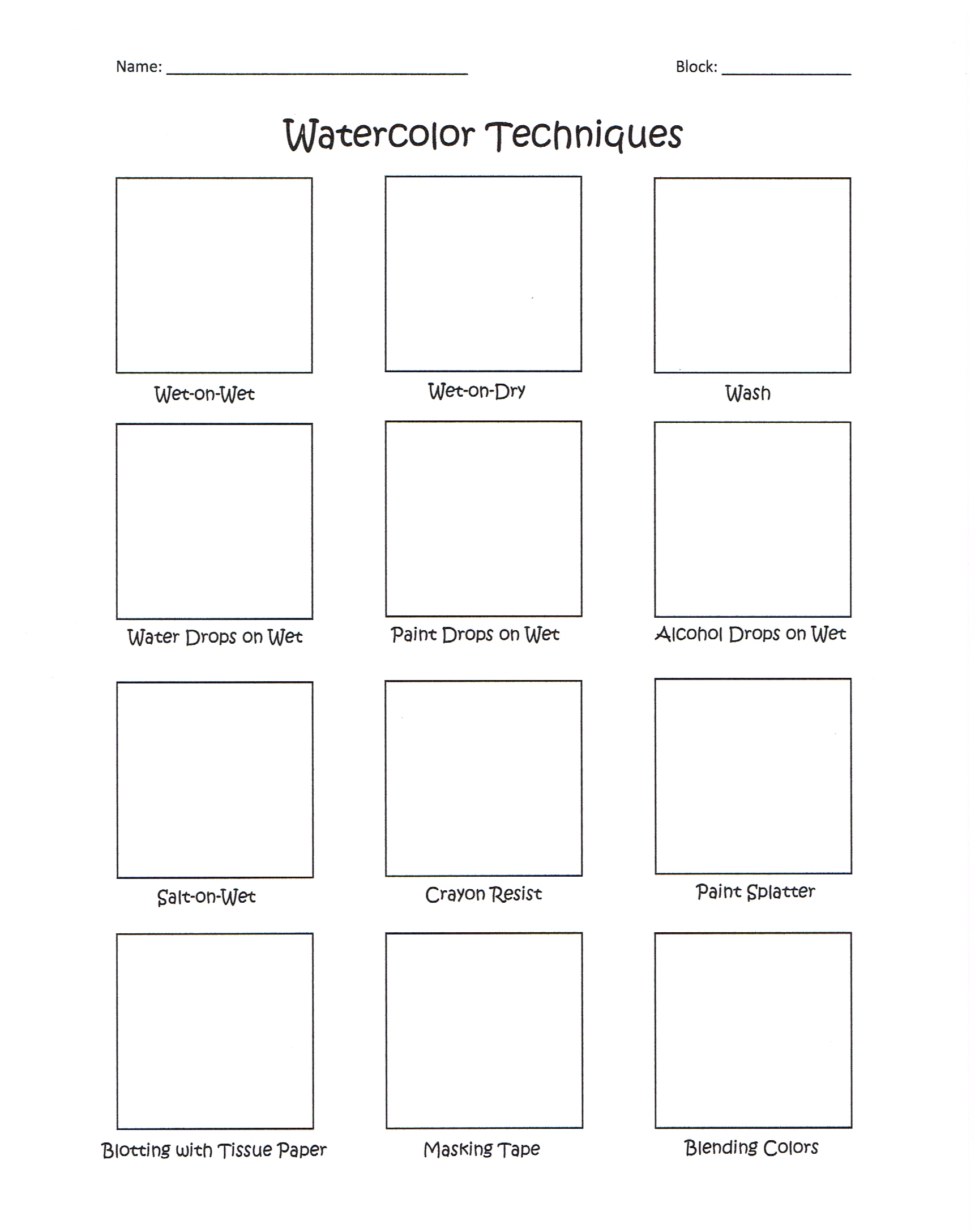 I Made A Watercolor Worksheet For My Art 1 Classes
