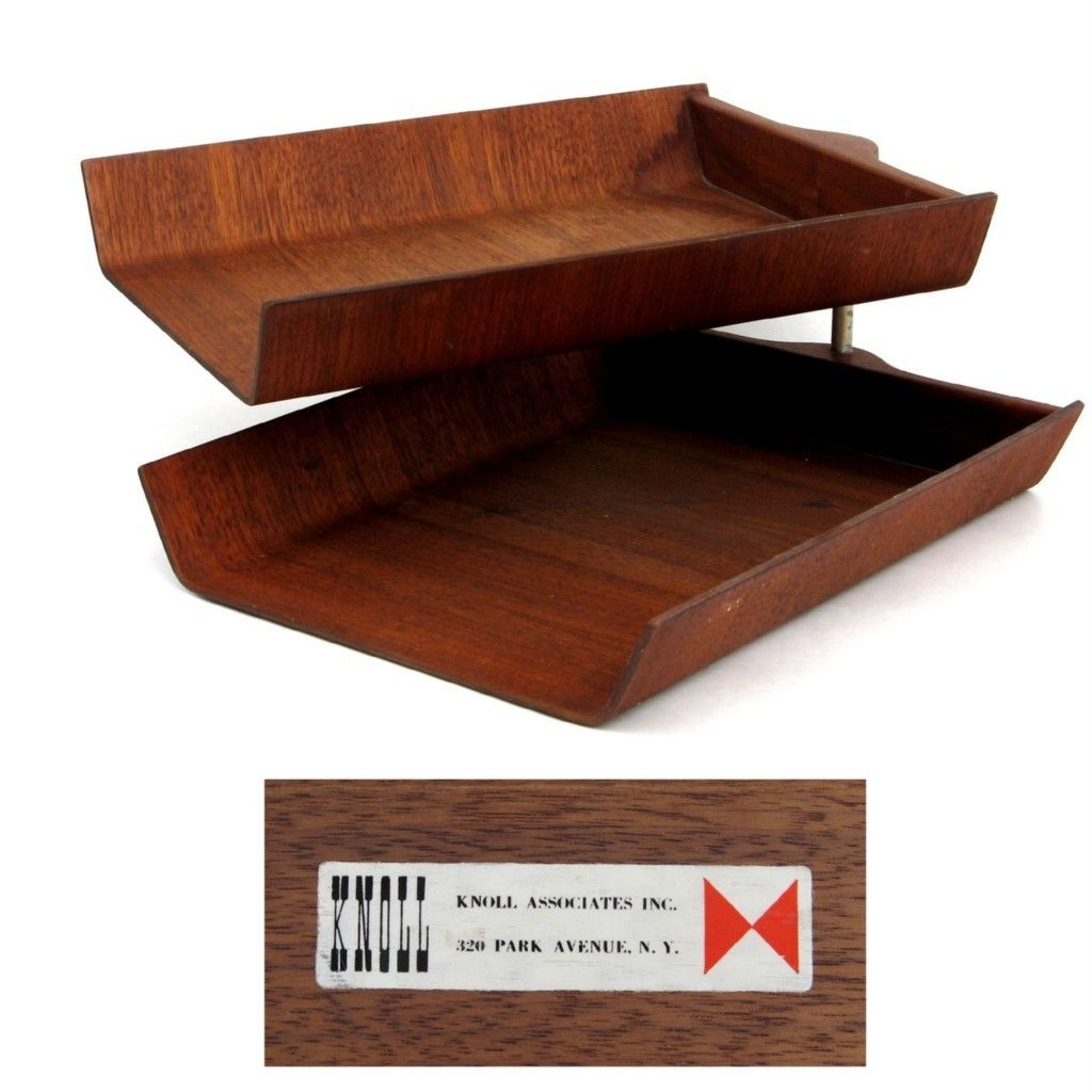 Florence knoll 39 s pivoting plywood paper tray for knoll for Knoll and associates
