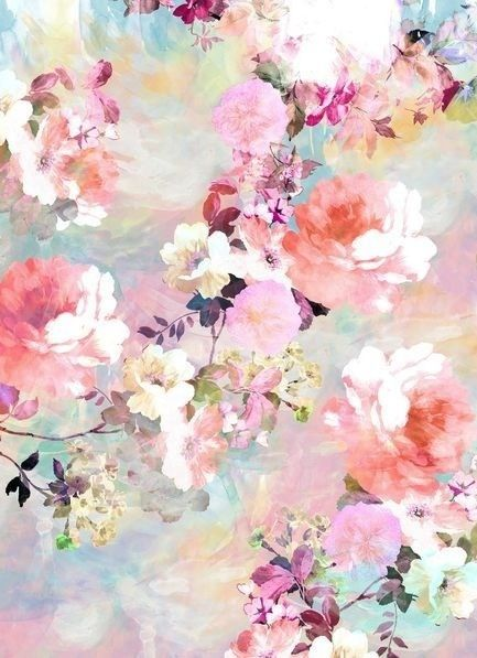 Romantic pink teal pastel chic floral pattern by girly for Pastel teal paint