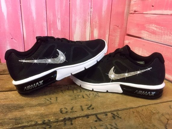 be5ba8c9cc4af7 Brand New in Box Authentic Blinged Women s Nike Air Max Sequent Running   Training Shoes. Outer Nike Swoosh is customized with fabulous Swarovski  Crystal ...